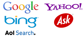 Google, Yahoo!, Bing, Ask, Aol